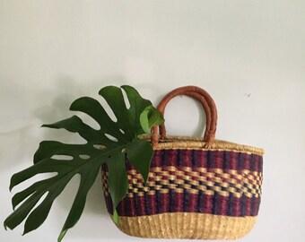 vintage woven sisal jute tote bag. vintage boho market picnic bag. bohemian hippie beach tote purse. woven jute tribal straw market bag.