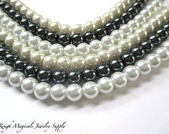 8mm Pearls, Round Beads, Your Choice of Color Pure White, Ivory Cream, Dark Gray, Faux Pearls, Acrylic Imitation Pearls - 22 Pieces  SP689