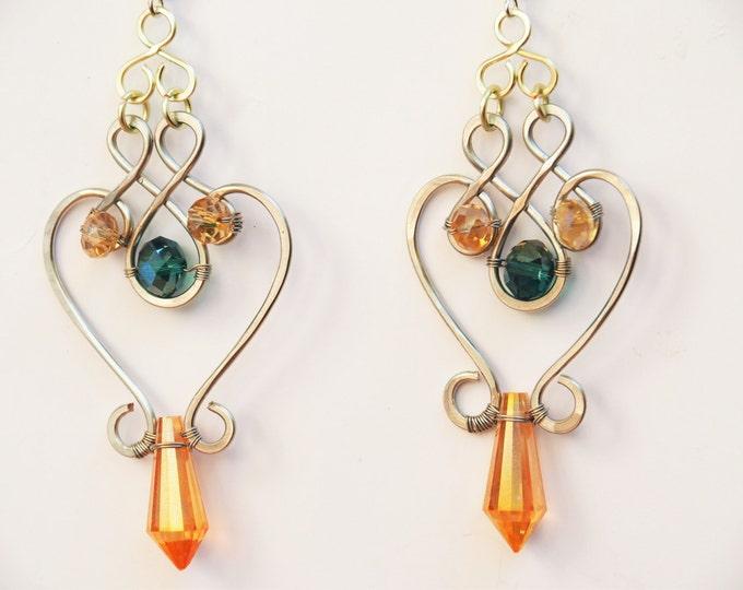 Ethnic earrings Oriental jewelry Gypsy Gift for her girlfriend Greek Goddess Boho Dangle Emerald green Drop Crystal