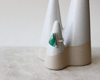 Malachite Ring, Gemstone Ring, Size 6 US, Triangle Ring, Sterling Silver Ring, Hand Fabricated Ring