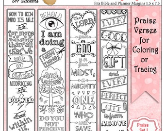 SALE! Printable Coloring Bible Journaling Margin Strips Faith Verses for Wide Bible Margins or Planner Decoration, or Bookmarks