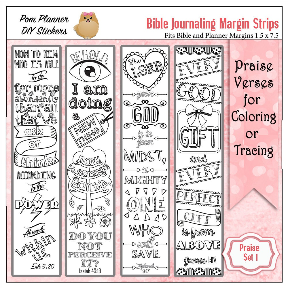 SALE Printable Coloring Bible Journaling Margin Strips Faith