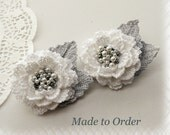 Set of 2 Crochet Beaded Flowers - Brooches - Winter Flowers -Made to Order for Jacqueline