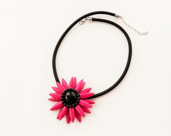 Pink Flower Necklace - Choker - Resin Flower Necklace - Pendant Necklace - Handmade Fashion Jewellery