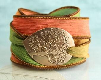 Tree-of-Life Silk Wrap Bracelet   Botanical Jewelry    Bronze yggdrasil bracelet - Ribbon Bracelet   Best Friend Gift