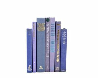 Purple Periwinkle Decorative Books, Old Book BUndle, Wedding Decor Centerpiece, BLue Book Decor, Antique Book Set, BOok Collection