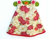 Chinese New Year Girls Dress - Chinese New Year Celebration Toddler - Red and Gold chrysanthemum - Oriantal Look - Girls Dress Pattern