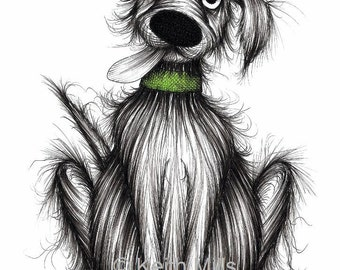 Fuzzy Fred Print A4 size picture Super happy pet doggie pooch hound mutt with cheerful face and slobbery tongue Ink sketch printed on paper