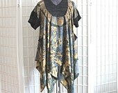 Upcycled Tie Dye Drape Top Tunic with Pockets Layering Lagenlook Bohemian Recycled Clothing Size XL