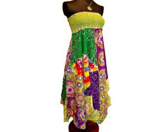Boho Maxi Dress, Bandana Dress, Hippie Dress, OOAK Dress, Boho Sundress, Festival Wear, Asymmetric Dress, Handkerchief Dress, Gift for Her