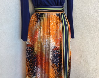 Vintage mod hostess maxi dress tunic top with side opening  by Futura Couture of NY sz S 6