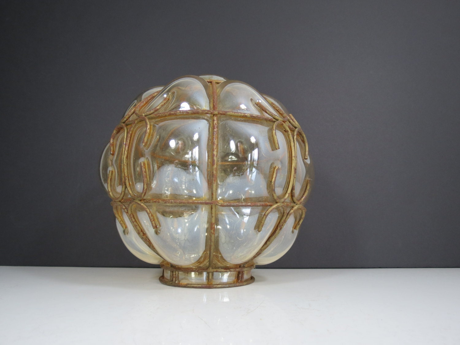 Blown Glass Light Shade Vintage Light Amber Glass by thisattic