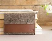 Felt and leather PASSPORT WALLET, passport case, grey and dark brown, wool felt, handmade, made in Italy