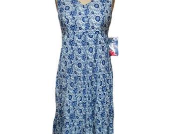 vintage paisley floral crinkle dress / Phool / blue / cotton / women's vintage dress / size petite medium