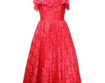vintage strapless lace party dress / red / Stepping Out / 80s does 50s / 50s style dress / prom dress / women's vintage dress / size 11