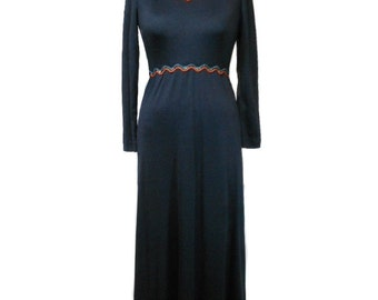 vintage 1970s fiesta maxi dress / Act I / polyester / black turquoise orange gold ric rac / women's vintage dress / size 9
