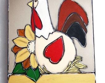White hen on nest painting - White hen and sunflower