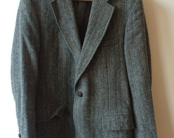 Vintage Gant Speckled Charcoal Herringbone Tweed Jacket Men's 38 R 40