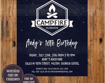 Campfire Birthday Invitation - 7th, 8th, 9th, 10th, 11th, 12th, 13th birthday invitaiton - Boy Scout - Smores - Camp - Bonfire - Item 0307c