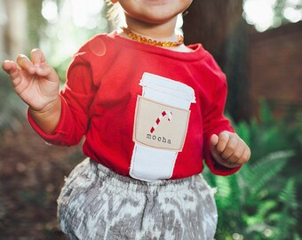 "Swanky Shank Girl or Boy Red ""Peppermint Mocha Latte"" Tee; Gender Neutral Shirt; Christmas Shirt; Coffee Shirt; Latte"