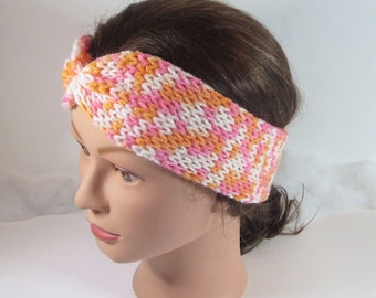 Buy 2 get 1 FREE! All Knit Headbands! Ear Headband, knit headbands, All season headbands, Knit Turban Headbands, Pink Orange & White Bands.