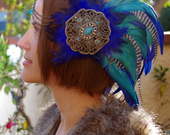 Feather Headband Headpiece - With Blues and Browns - Festival Wear Inspired By Burning Man