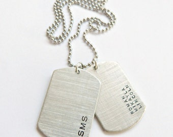 Mens Personalized Dog Tag Necklace,Husband Gift, Boyfriend Gift,Gift for him, Custom Hand Stamped Necklace Grooms Gift Groomsmen Gift