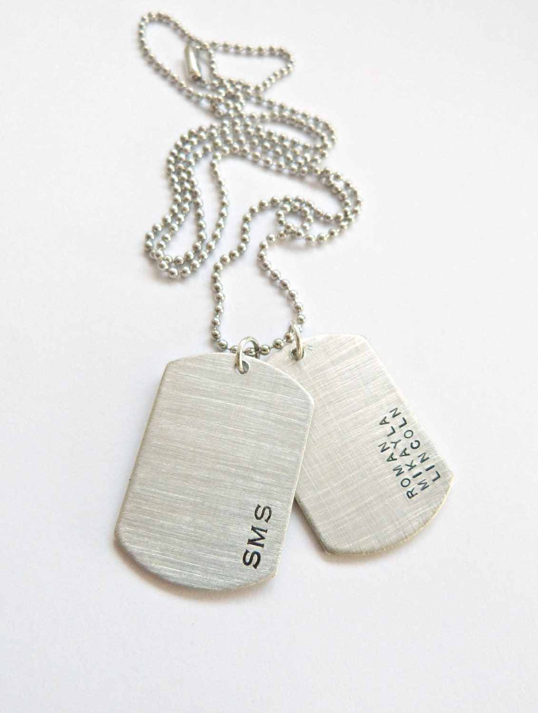 personalized dog tag necklace husband gift custom hand stamped. Black Bedroom Furniture Sets. Home Design Ideas
