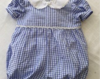 Blue Gingham Baby Romper, Vintage-inspired, classic infant romper