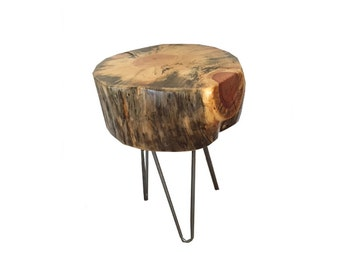 Live Edge Round Wood End Table with Hairpin Legs