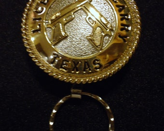 Handmade State of Texas Open Carry Handgun License Keychain with a pair of semi-automatic Pistols