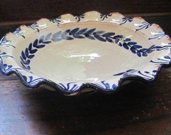 So Pretty! Vintage Handmade Bowl, Frilled Serving Bowl, Cobalt Blue on Cream, Terracotta Bowl, Rustic, Folk Pottery, Crimped Edge