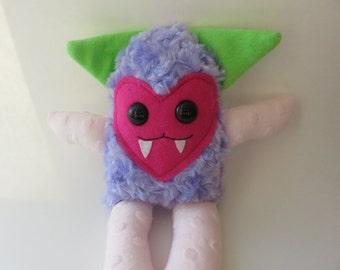 Plush Monster, Mini Monster, Handmade Plush Monster, Furry Monster, Handmade Plushies, Handmade Monster, Handmade Toy, Vampire, Faux Fur