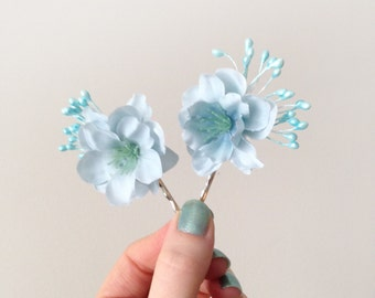 Budding Blue Bobby Pin Set  - Serenity Light Blue Hair Pins - Bride - Bridesmaid - Flower Girl - Rustic Weddings