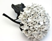 Leather anniversary gift for her, leather corsage, hydrangea jewelry, leather hydrangea, leather jewelry, Mothers Day, 3rd anniversary gift