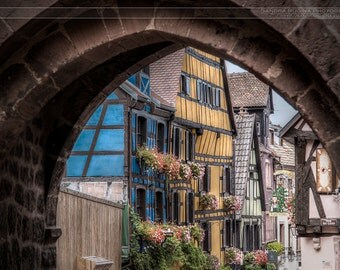 Fairytale Alsace village, famous Riquewihr, small medieval village, art photo print small, very large, HDR dreamy fantastic print, France