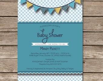 Baby Shower Invitation Boy Party Print Custom Digital Banner Whimsical