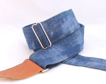 Favorite Jeans Guitar Strap with Leather Ends