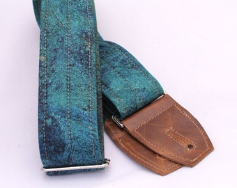 Guitar Strap in Azurite Stone - Leather Suede Ends and Optional Pick Pouch
