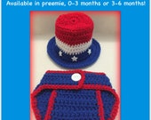 Uncle Sam patriotic baby outfit, red white and blue baby, royal blue, boy July 4 top hat diaper cover 0-3 months 3-6 months preemie newborn
