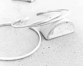 Benchmark Skinny Cuff / sterling silver / thin patterned layering bracelet
