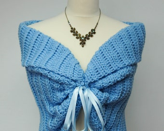 Something Blue Bridal Lace Bolero Wedding Shrug hand crocheted for Chilly Summer Weddings