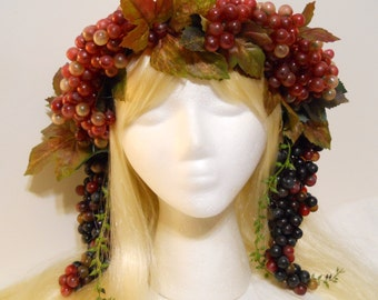 Grape Crown Bacchus Crown Grape Vine Wreath Laurel God Goddess Wine Crown King Queen Wine Red Purple Grapes Mardi Gras Costume Headdress