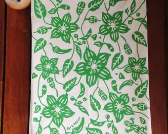 Flour Sack Towels -  Screen Print Tea Towel - Kitchen Towels  - Tea Towel Flour Sack - Shishito Pepper illustration - Garden -  Leaf pattern