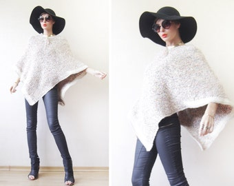 White colourful crochet knit fall poncho shawl wrap coat