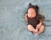 Newborn knit mohair prop-Knit romper set-Bear Bonnet and matching romper in lace mohair-Newborn photography props