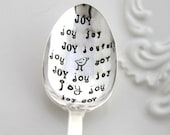 Stamped Spoon Vintage - JOY joy joy joyful with Cute Bird - Fun Gift - Lady Esther 1935 - Ready To Ship & Made in USA