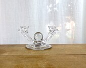 Mid Century Glass Double Candleholder with Glass Ball Design