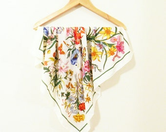Vintage Wildflower Scarf / Colorful Garden Floral Scarf / Bold Floral Statement Scarf
