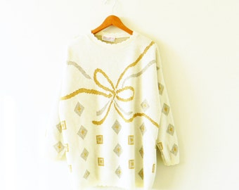 Creamy Vintage Bow Sweater / Sparkly Knit Sweater with Scalloped Neck / Cozy Gold Sparkle Sweater